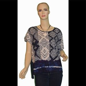 DKNY Blue and White Patterned Top
